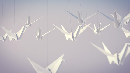 WhiteOrigami Cranes Fly High