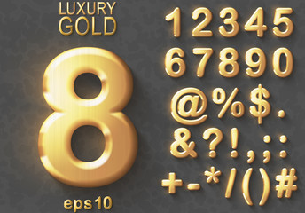 Set of golden glitter 3D Numbers and Characters.