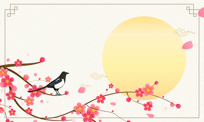 Wall Mural - Seollal (Korean lunar new year ) vector illustration, Magpie with plum blossom branches on traditional Korean pattern.
