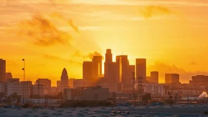 Klistermärke - Sunset to night city view of downtown Los Angeles skyline. 4K UHD timelapse