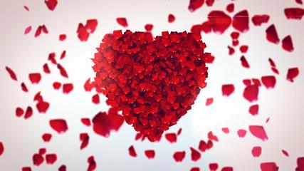 Flying Rose Petals Making Heart