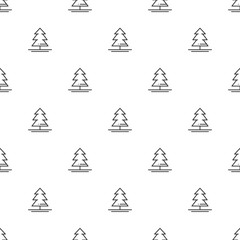 Christmas New Year seamless pattern with christmas tree. Holiday background. Christmas tree, spruce, fir. Xmas winter trendy decoration. Festive texture. Line vector illustration. Wrapping gift paper.
