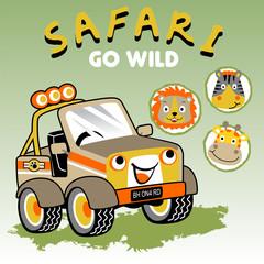 A little car cartoon with animals head