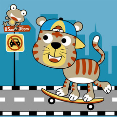 funny skater cartoon in the city road