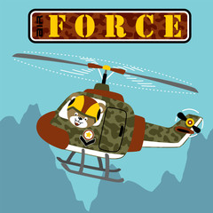 military helicopter cartoon with funny pilot