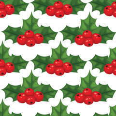 Christmas berry decorative leaves holly branches with winter red berries seamless pattern background evergreen floral plant vector illustration