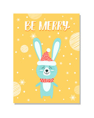 Be Merry Image of Rabbit on Vector Illustration