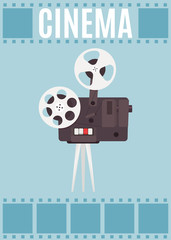 Old cinema projector with movie reel. Template for banner, flyer or poster. Vector illustration