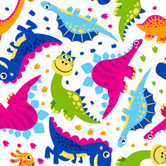 Seamless pattern of cute vector dinosaurs, monster animal, dino,  prehistoric character. Vector backround. Ideal for cards, invitations, party, banners, kindergarten, baby shower