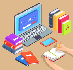 Online Distance Education Isolated Illustration