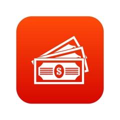 Three dollar bills icon digital red