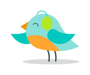 Tiny Bird with Blue Plumage in Warm Earpieces