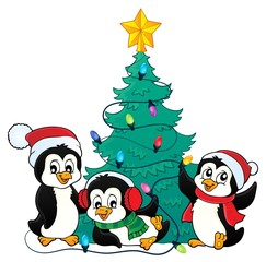 Christmas tree and penguins image 3