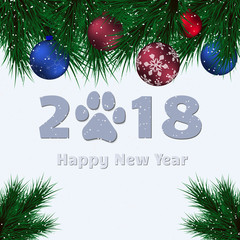 Happy New Year 2018. Lettering and Fir. With dog paw. Vector Illustration.