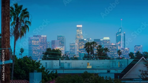 Fotobehang Downtown City of Los Angeles skyline changing from dusk to night. 4K timelapse