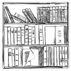 Books background. Book shelves sketch. Vector illustration.