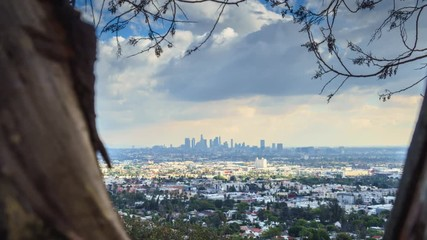 Fototapete - Zoom in on city of Los Angeles cityscape skyline. 4K UHD hyperlapse timelapse
