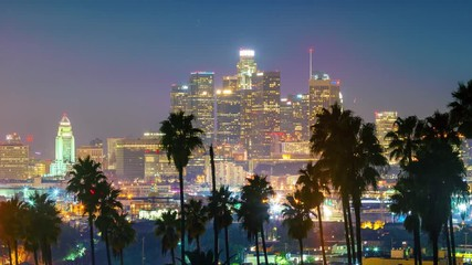 Fotobehang - Dusk to night transition, zoom in on city of Los Angeles downtown skyline