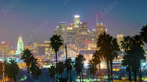 Fotobehang Dusk to night transition, zoom in on city of Los Angeles downtown skyline