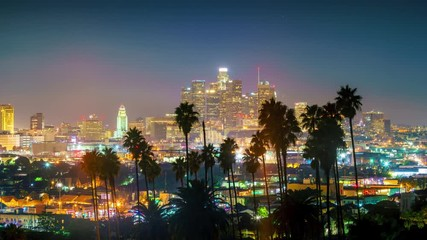 Klistermärke - Sunset to night transition, zoom out of city of Los Angeles downtown skyline