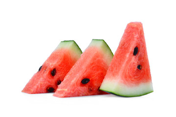 fresh sliced red watermelon isolated on white background