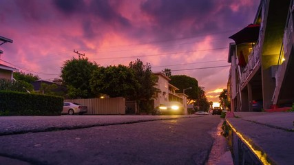 Fotobehang - Low angle view street traffic residential street sunset Los Angeles California