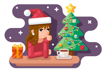 Cute girl wating for new year chrismas tree santa claus hat gift box flat design vector illustration