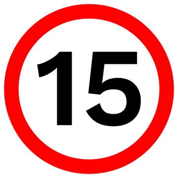 SPEED LIMIT 15 sign in red circle. Vector icon.