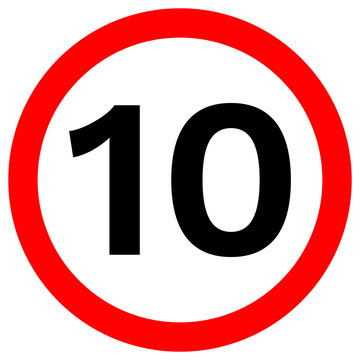 SPEED LIMIT 10 sign in red circle. Vector icon.