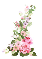Bouquet of roses, spring blossom. Vertical border with red, mauve, pink flowers, buds, green leaves on white background. Digital draw illustration in watercolor style, vintage, vector