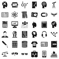 Knowledge icons set, simple style