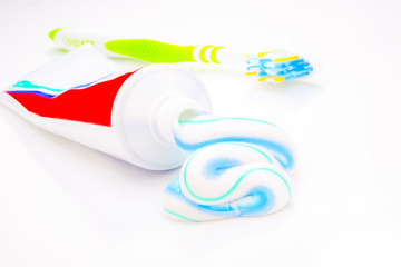toothpaste and toothbrush