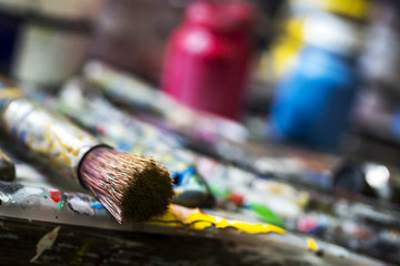 Artistic paintbrushes and paint