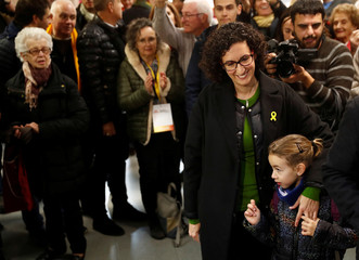 Republican Left of Catalonia (ERC) General Secretary Marta Rovira leaves after voting in Catalonia's regional elections at a polling station in Vic