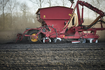 Fototapete - Red tractor with sowing machine on a ploughed field
