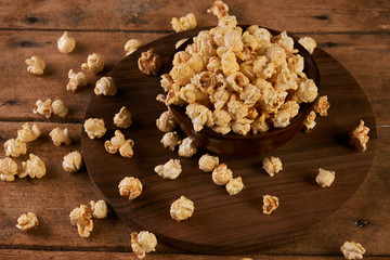 Popcorn in wooden bowl