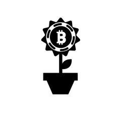 Bitcoin flower vector icon