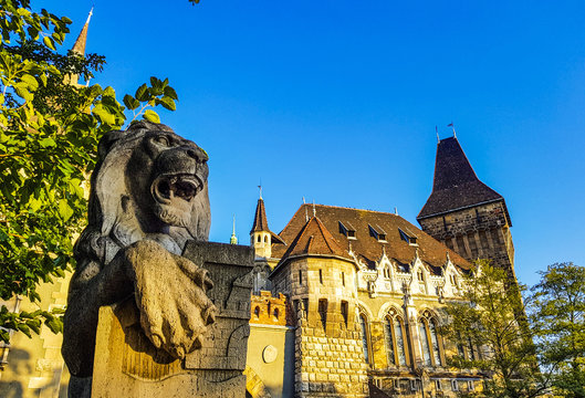 Famous castle in Budapest - Vajdahunyad with lion monument in front