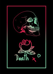 Death skull flower frame