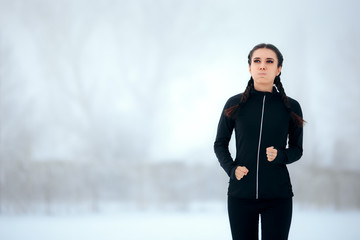 Tired Winter Running Woman Exercising Outside Training Cardio in Cold Season