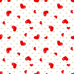 Vector seamless  background with red heart. Wedding or Valentine's day pattern.