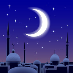 Arab architecture at night under the crescent moon
