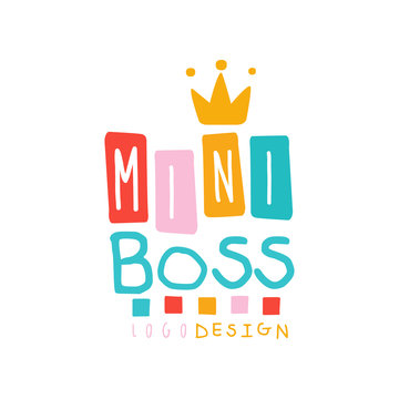Creative baby mini boss logo design with lettering and golden crown. Emblem for promo or business. Flat hand drawn vector isolated on white.