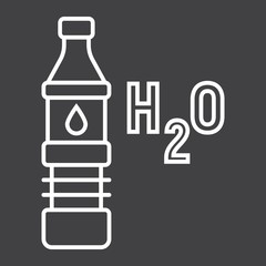 Bottle of water line icon, fitness and sport, health sign vector graphics, a linear pattern on a black background, eps 10.