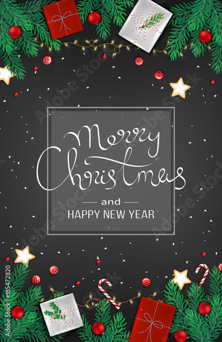 Merry Christmas And Happy New Year Web Banner Template Festive