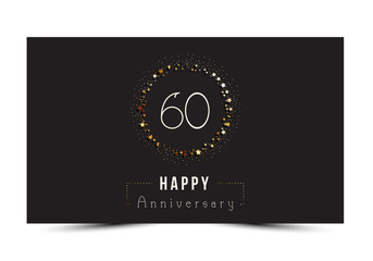 60 years Happy Anniversary card. Vector illustration