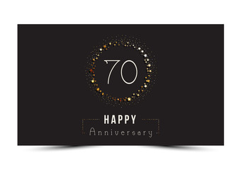70 years Happy Anniversary card. Vector illustration