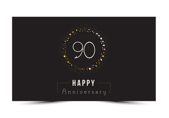 90 years Happy Anniversary card. Vector illustration