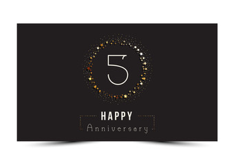 5 years Happy Anniversary card. Vector illustration