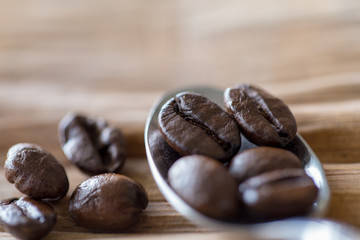 Backgrounds of Roasted coffee beans.